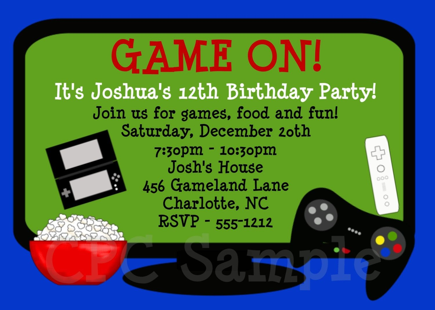 Video Games Birthday Invitation | Tuck's Birthday In 2019 - Free Printable Video Game Party Invitations