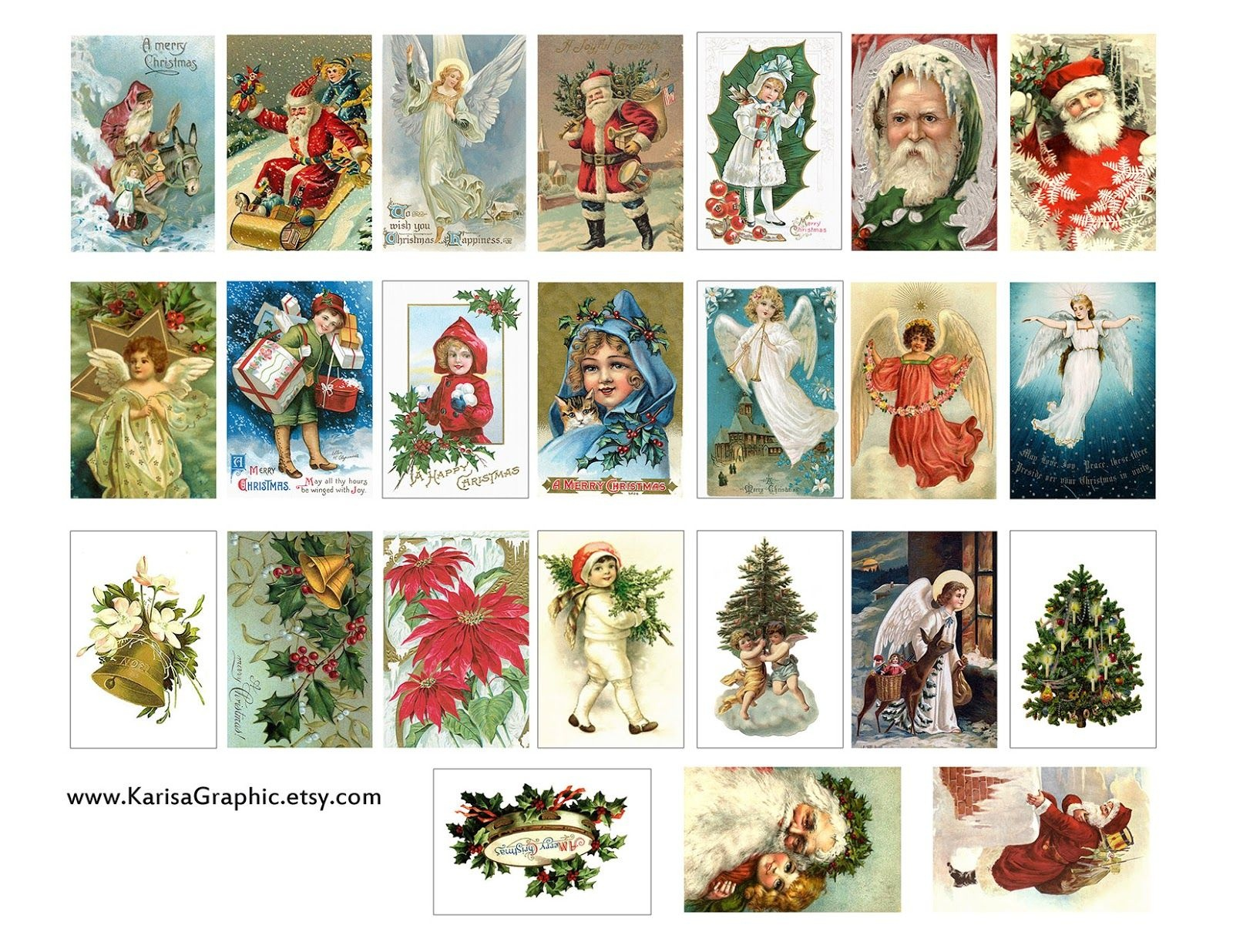 Vintage Holiday Tags Printable Free   The Size Of The Tags Is 2X1.25 - Free Printable Vintage Christmas Pictures