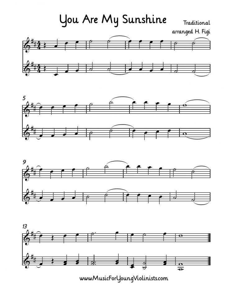 Free Printable Piano Sheet Music For You Are My Sunshine