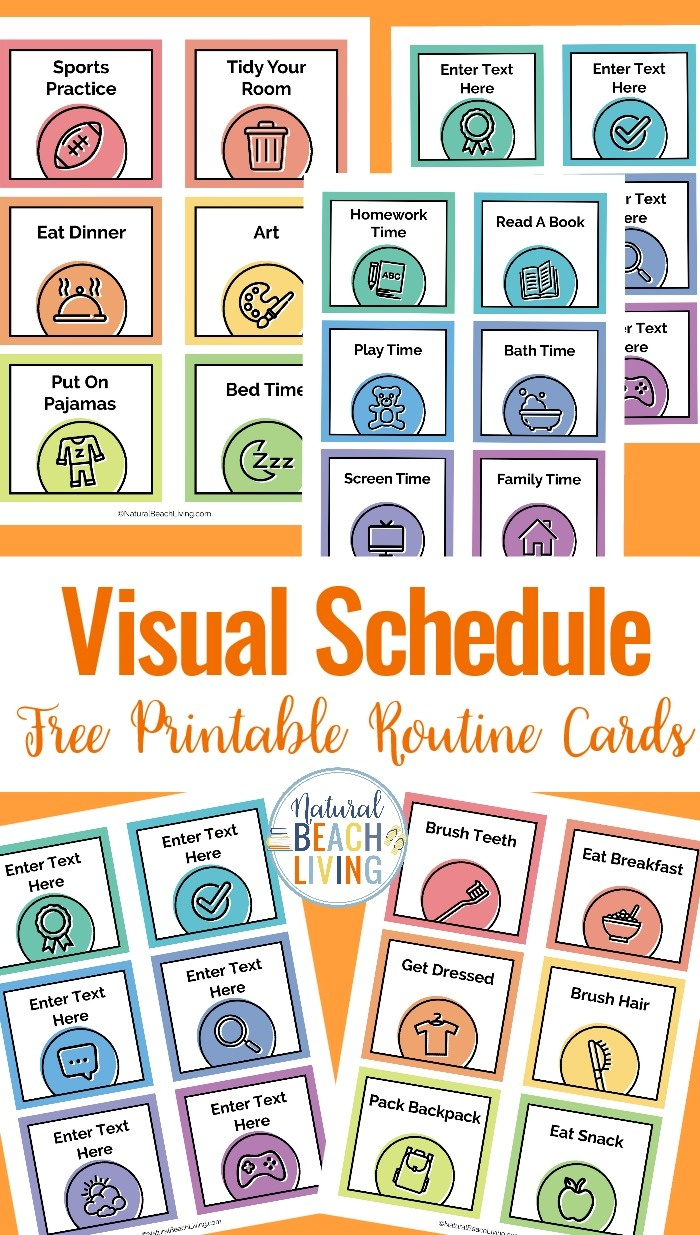 Visual Schedule - Free Printable Routine Cards - Natural Beach Living - Free Printable Schedule Cards For Preschool