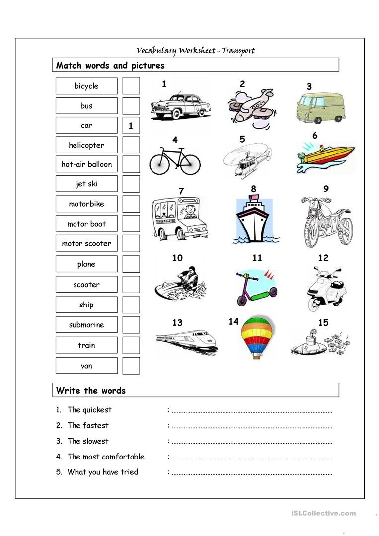 Vocabulary Matching Worksheet - Transport Worksheet - Free Esl - Free Printable Transportation Worksheets For Kids