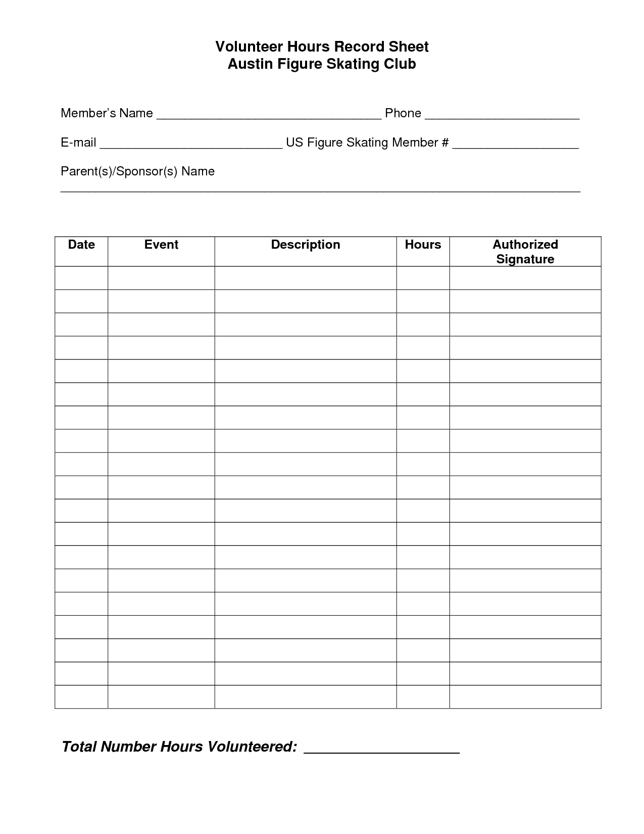 Volunteer Hours Log Sheet Template | Beta Club | Essay Writing Tips - Free Printable Volunteer Forms