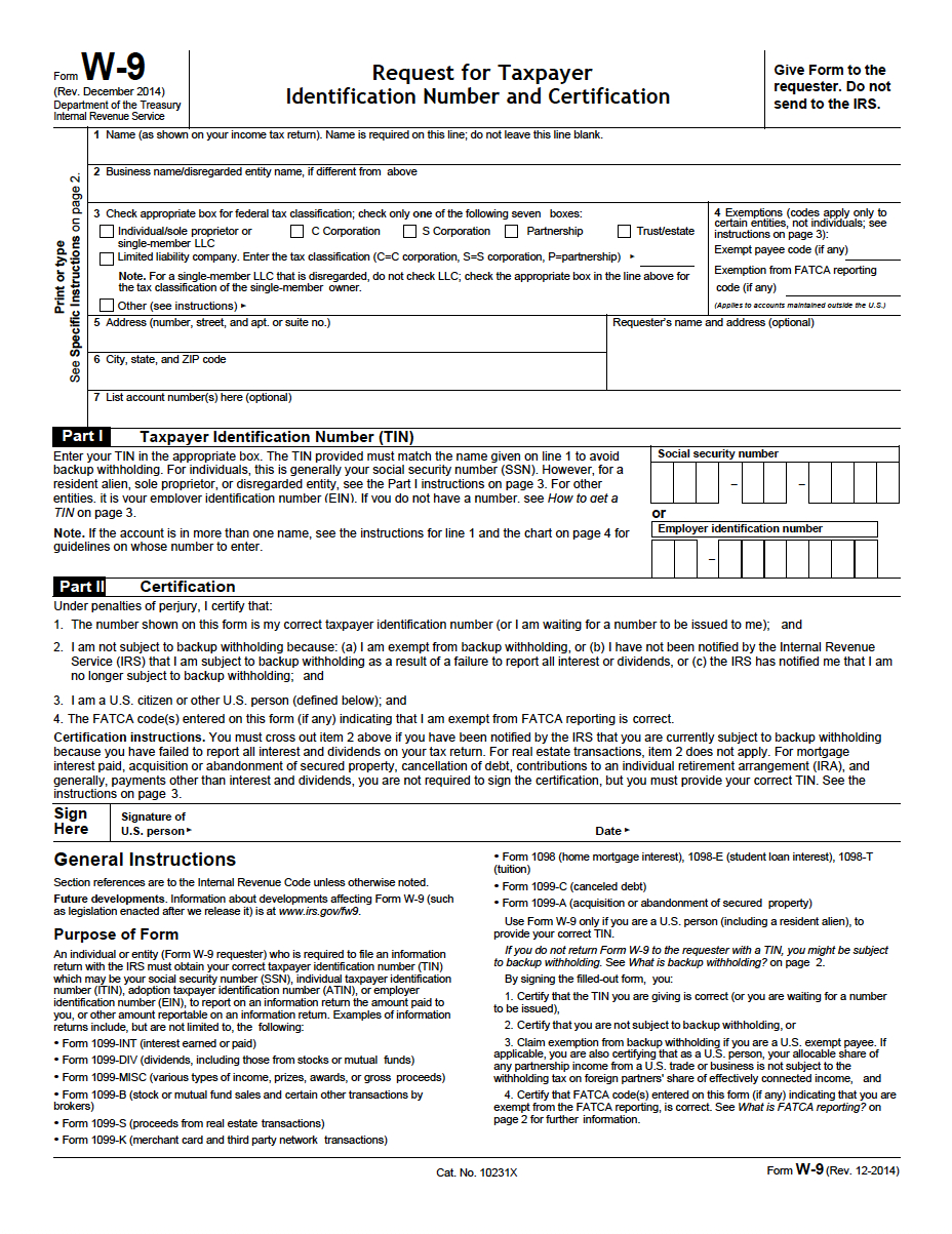 W-9 Request For Taxpayer Identification Number And Certification Pdf - Free Printable W 9 Form