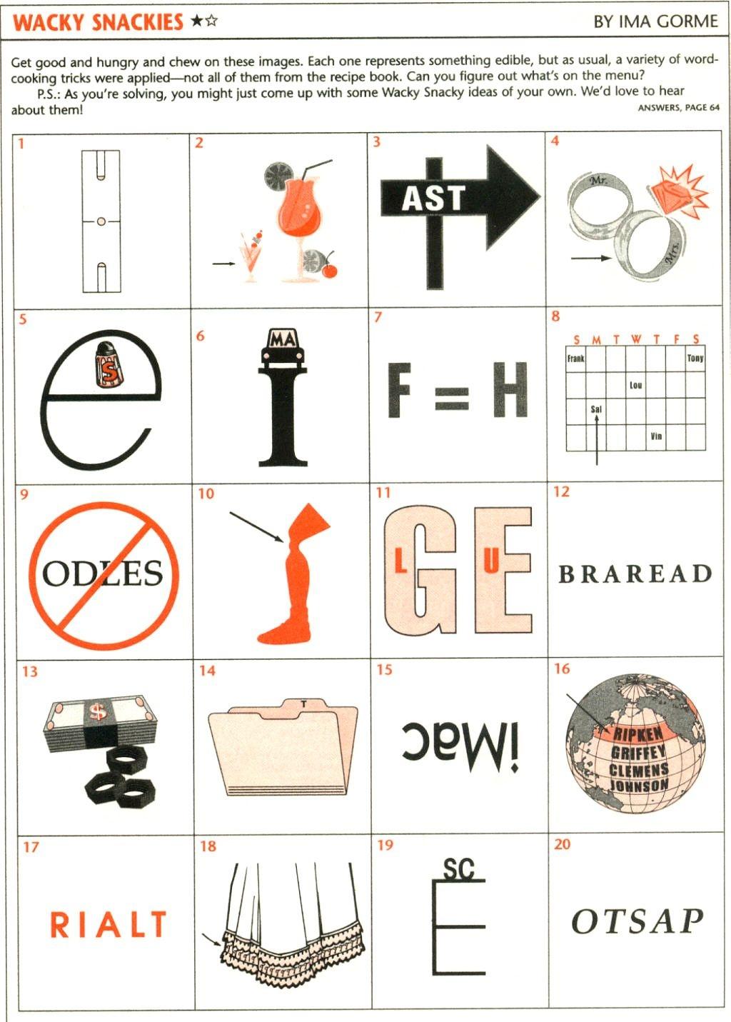 Wackie Wordies #73   Brain Teasers   Word Puzzles, Brain Teasers - Free Printable Word Winks
