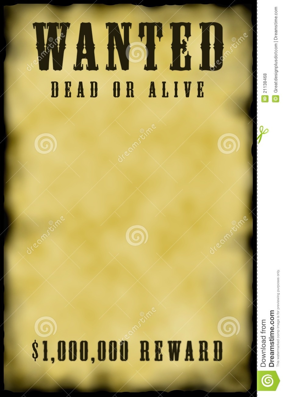 Wanted Poster! Stock Illustration. Illustration Of Criminal - 21138468 - Free Printable Wanted Poster Old West