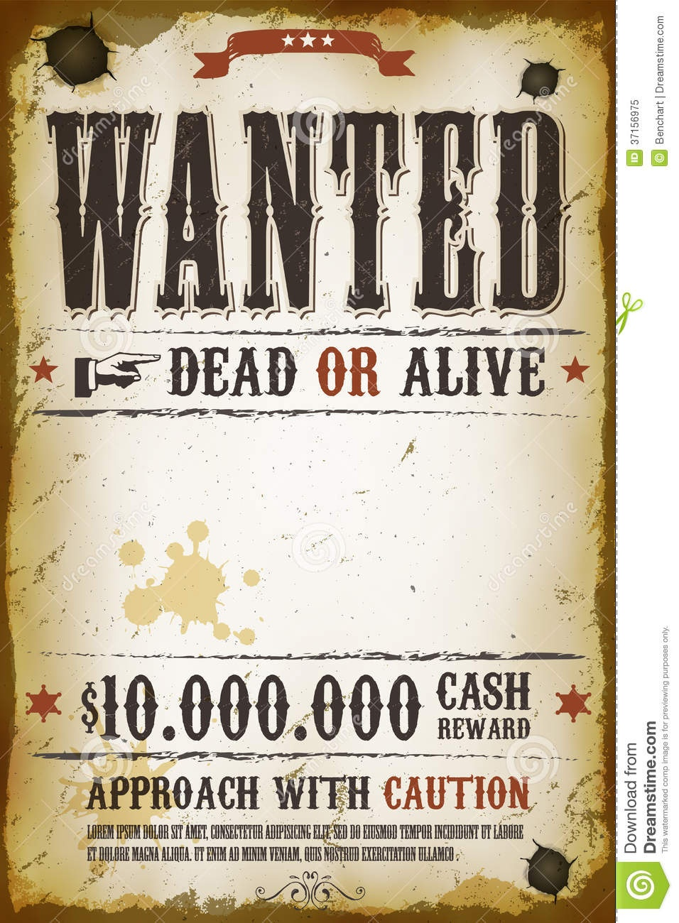 Wanted Vintage Western Poster Stock Vector - Illustration Of Brown - Free Printable Wanted Poster Old West