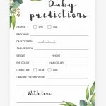 Watercolor Leaves Baby Predictions Game Printable  Baby Shower   Baby Prediction And Advice Cards Free Printable