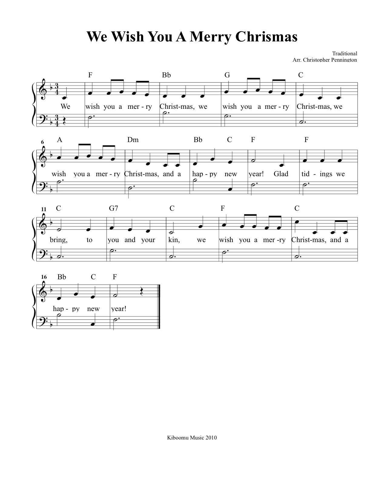 We Wish You A Merry Christmas Sheet Music And Song For Kids!   Music - Free Christmas Sheet Music For Keyboard Printable
