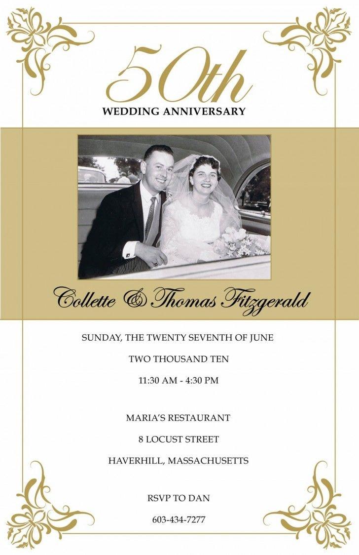 Wedding Card. Golden 50Th Wedding Anniversary Invitation Card - Free Printable 50Th Anniversary Cards