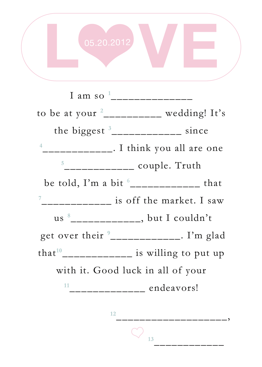 Wedding Mad Lib Template. Free Printable Bridal Shower Mad Libs - Free Printable Wedding Mad Libs