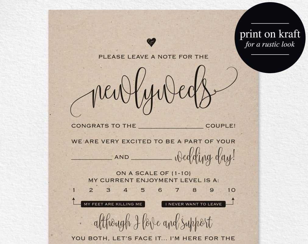 Wedding Mad Libs Mad Lib Printable Wedding Advice Mad Lib | Etsy - Free Printable Wedding Mad Libs