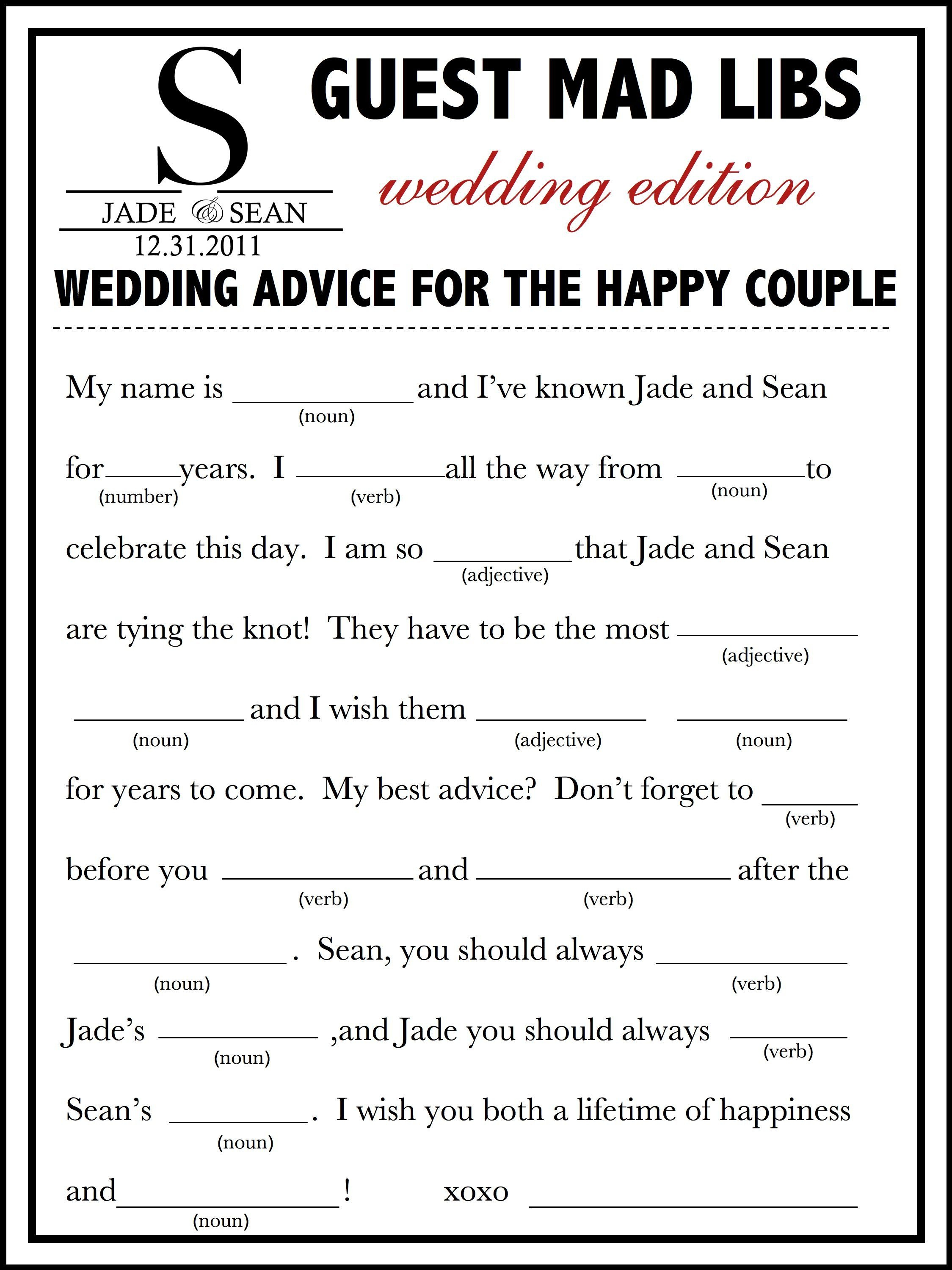 Wedding Mad Libs Template Free | Fun Unique Guest Book Alternative - Free Printable Wedding Mad Libs