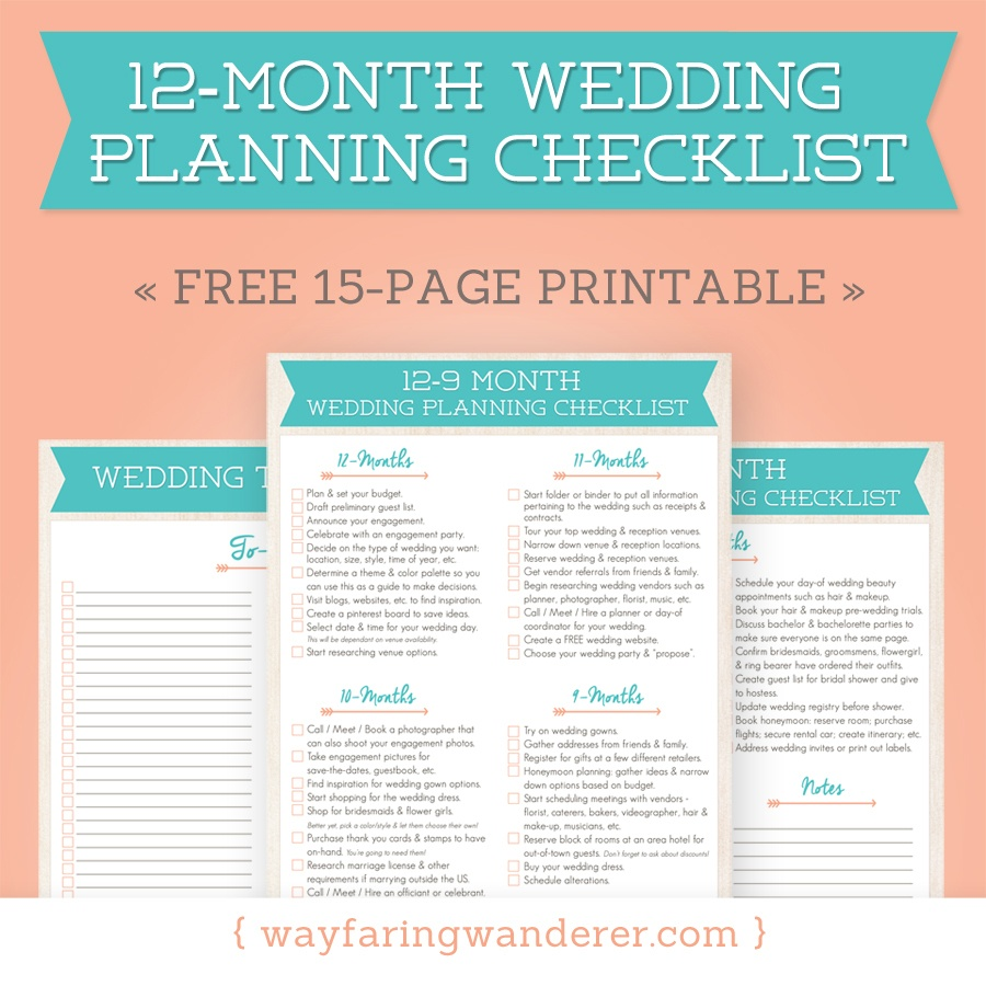 Wedding Planning Checklist | Free Printable Wayfaring Wanderer Boone - Free Printable Wedding Checklist
