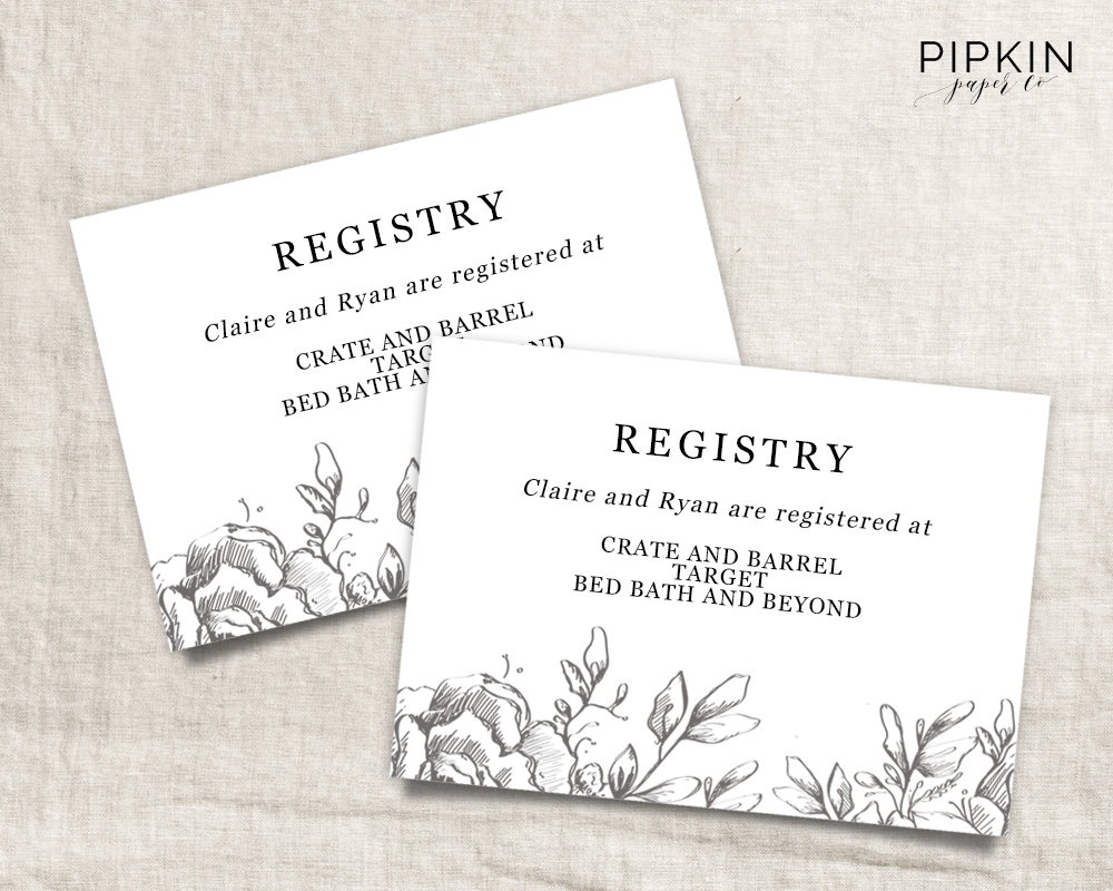Wedding Registry Card Template Free - Demir.iso-Consulting.co - Free Printable Registry Cards