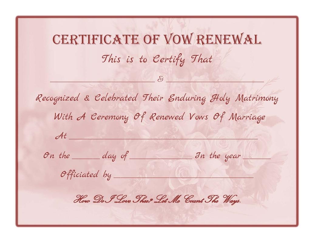 Wedding Vow Renewal Certificate Printable | Printable Birthday - Free Printable Wedding Certificates