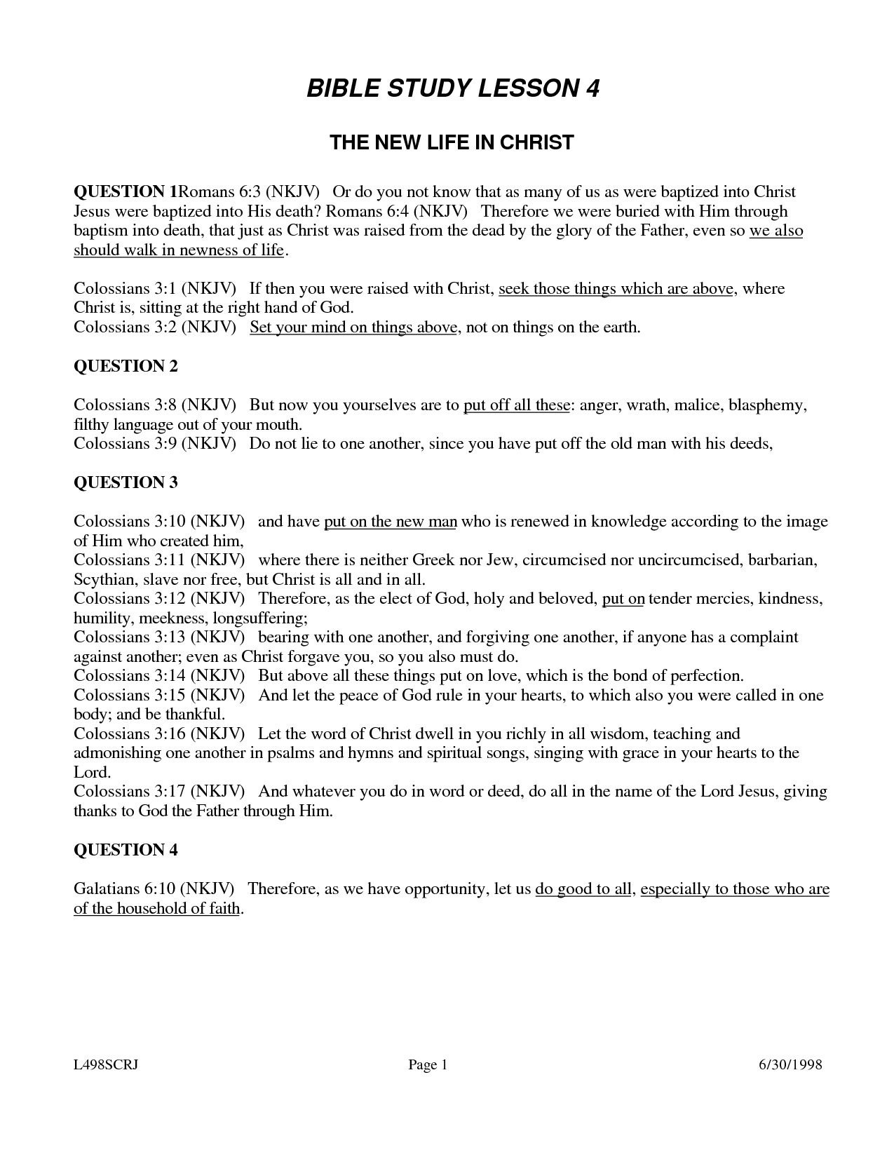 Weekly Bible Study Lesson - Free Printable Sunday School Lessons For Teens
