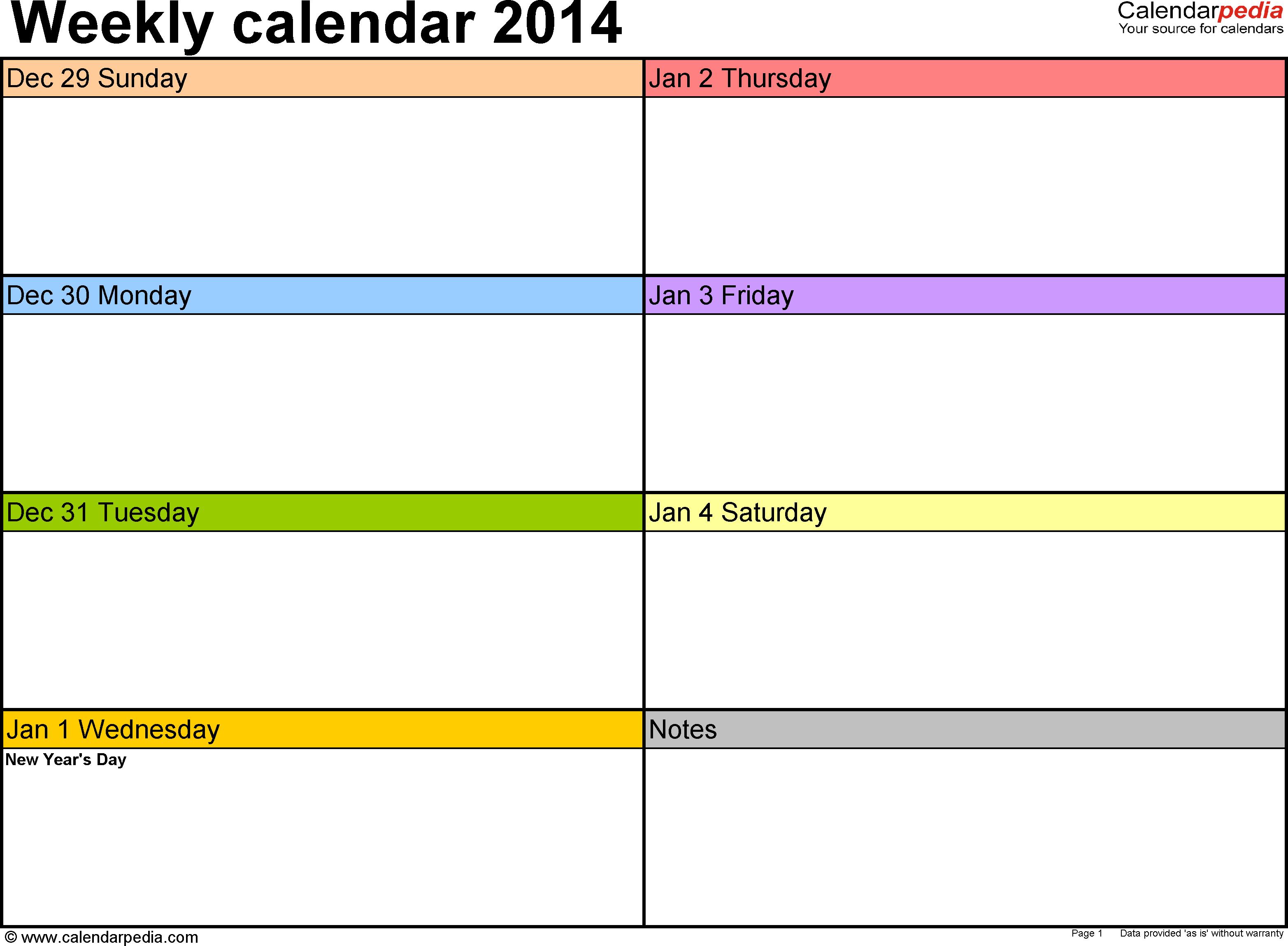 Weekly Calendar 2014 For Word - 4 Free Printable Templates - Free Printable School Agenda Templates