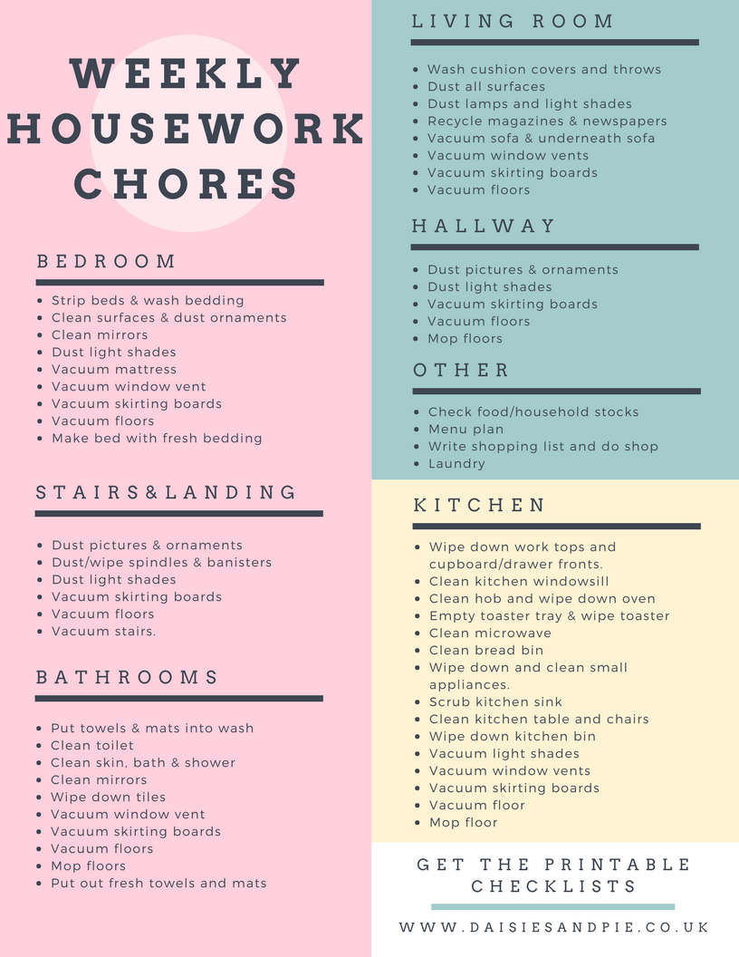 Weekly Housework Checklist   Money Saving And Household Tips   House - Free Printable Housework Checklist