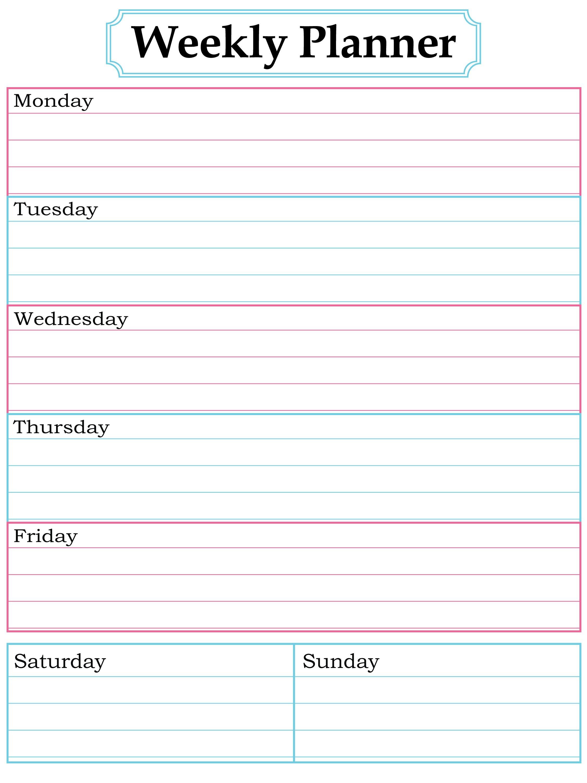 Weekly Planner Printable. Nice, Simple, Clean Lines. | School - Free Printable School Agenda Templates