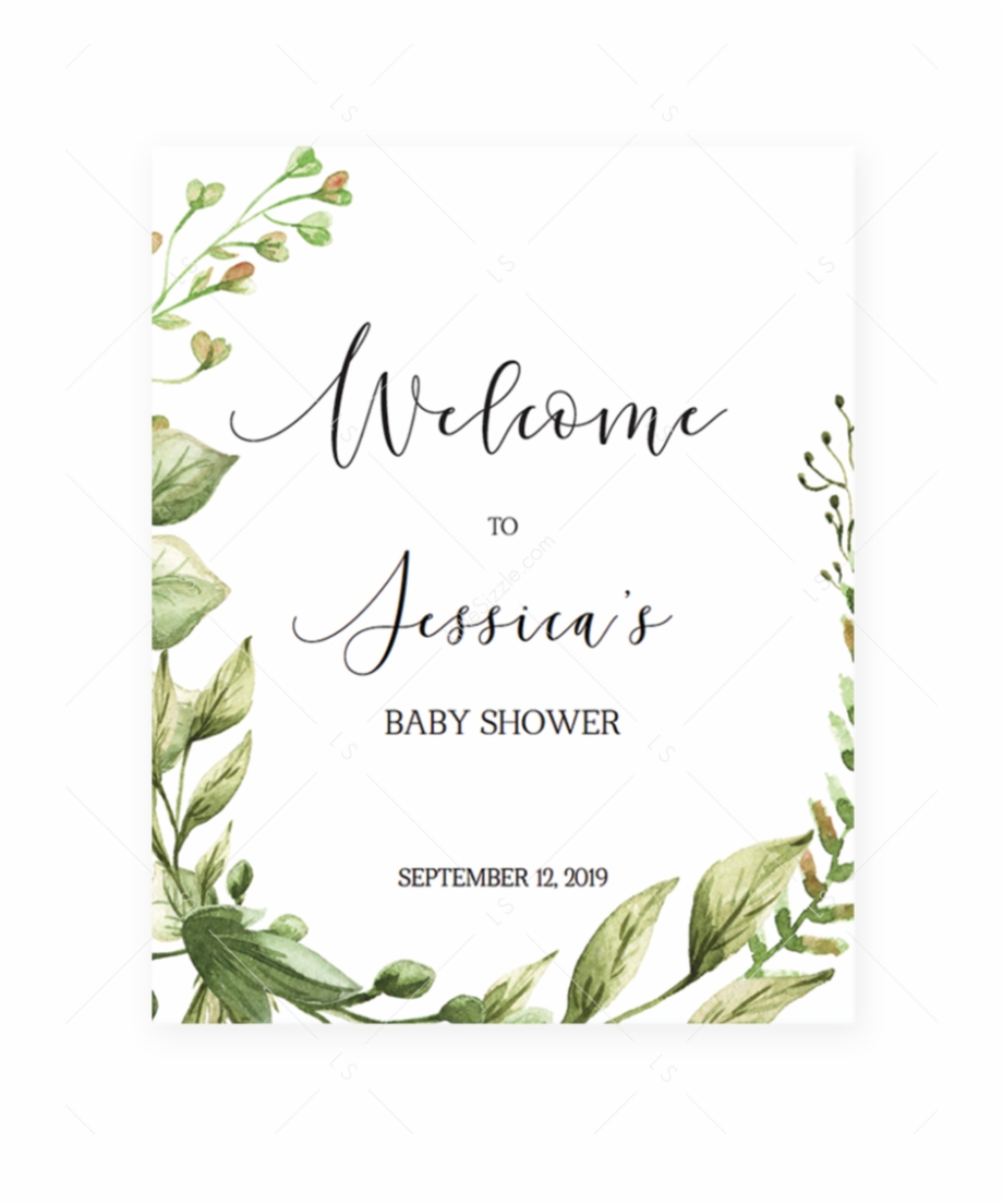 Welcome To Baby Shower Sign Editable Pdf Template Green - Mom Osa - Free Printable Mimosa Bar Sign