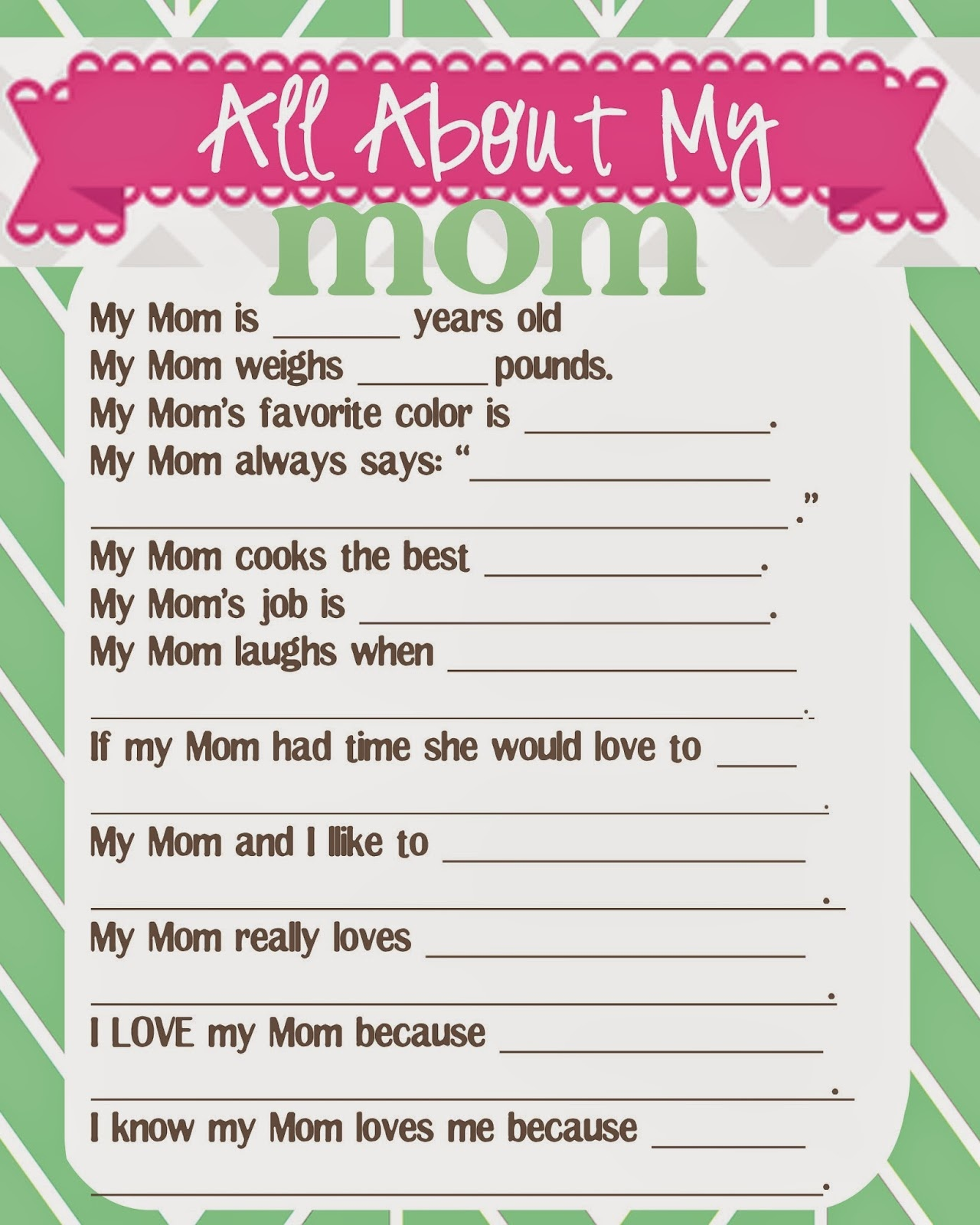 What Does The Cox Say?: Mother's Day Questionnaire And Free Printables - Free Printable Mother's Day Questionnaire