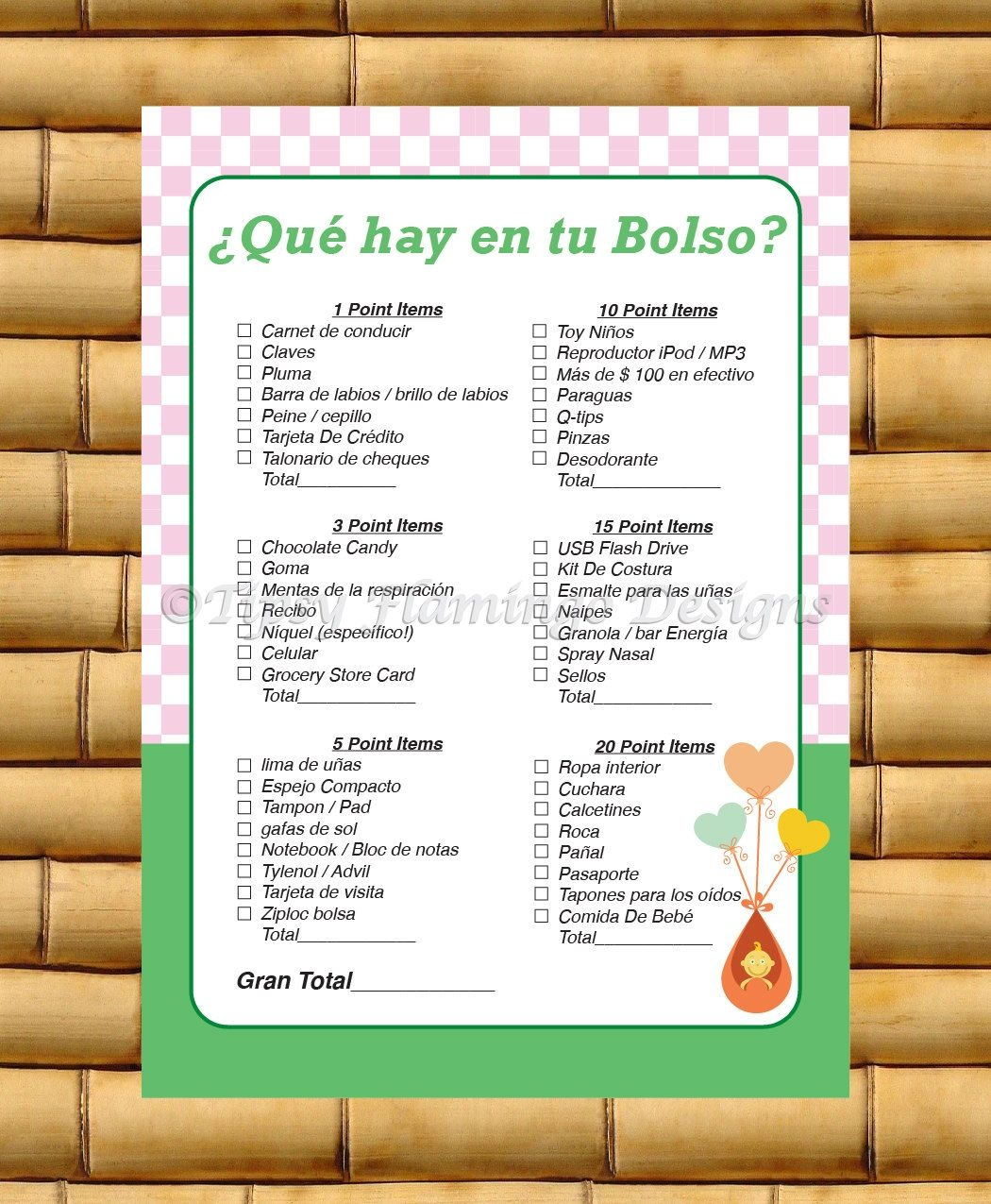 What's In Your Purse, Spanish Baby Shower Game, Spanish Game - Free Printable Baby Shower Games In Spanish