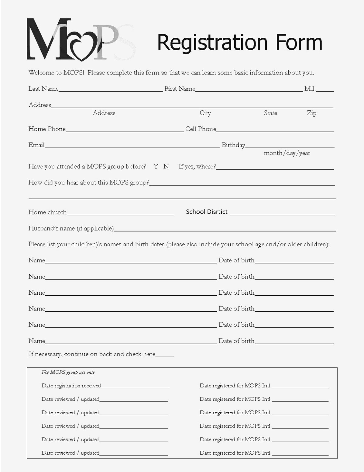 Why Printable Registration Form Template | Form Information - Free Printable Membership Forms
