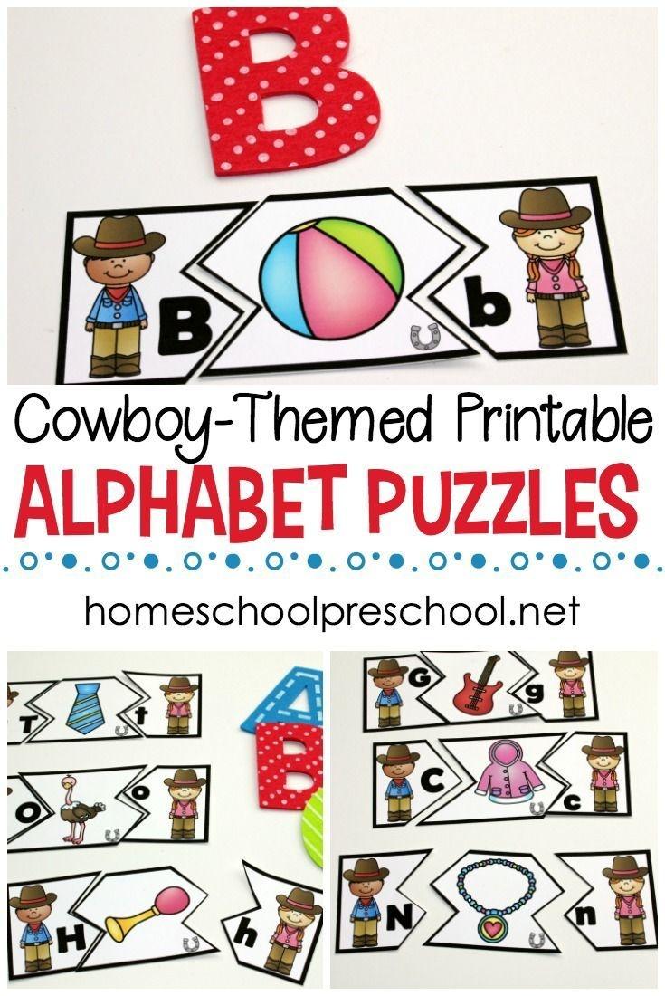 Wild West Themed Alphabet Puzzle Printables | Homeschooling Ideas - Free Printable Alphabet Puzzles