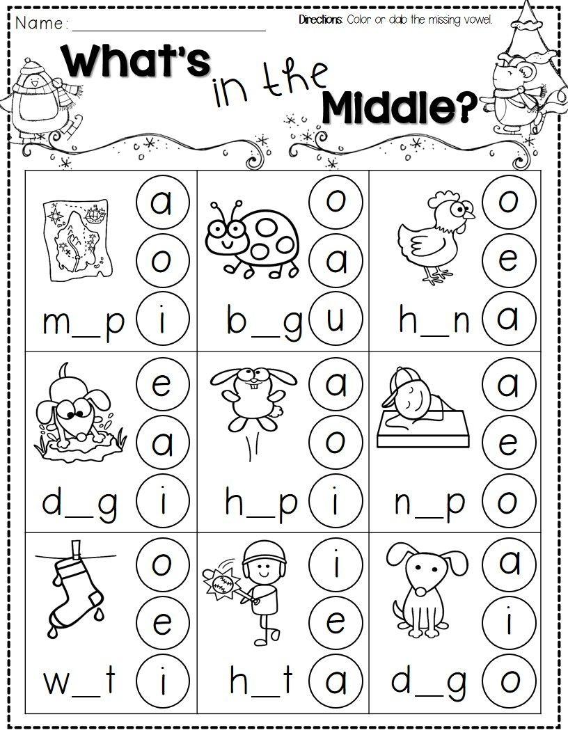 Winter Activities For Kindergarten Free | Reading/language - Phonics Pictures Printable Free