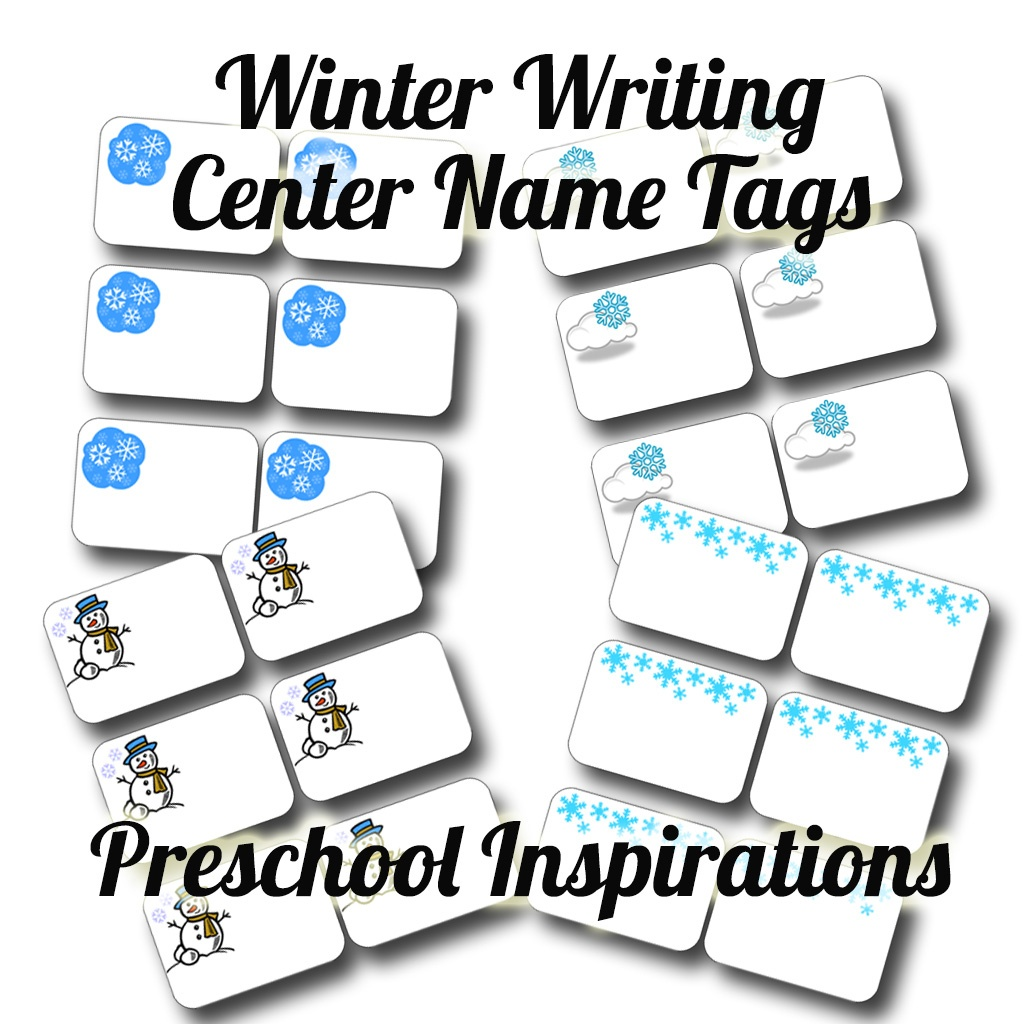 Winter Writing Center Name Tags - Preschool Inspirations - Free Printable Name Tags For Preschoolers