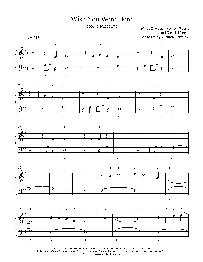 Wish You Were Herepink Floyd Piano Sheet Music | Rookie Level - Dynamite Piano Sheet Music Free Printable
