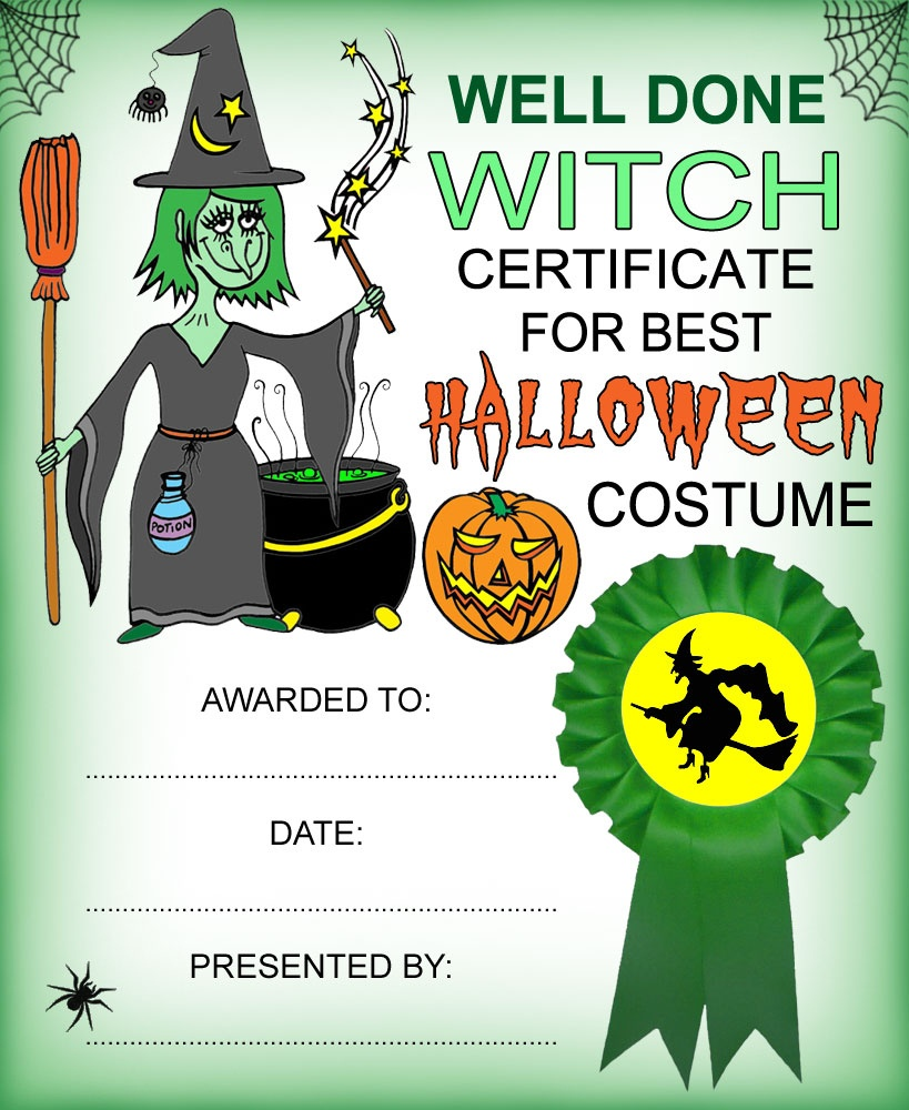 Witch Certificate: Best Halloween Costume   Rooftop Post Printables - Best Costume Certificate Printable Free