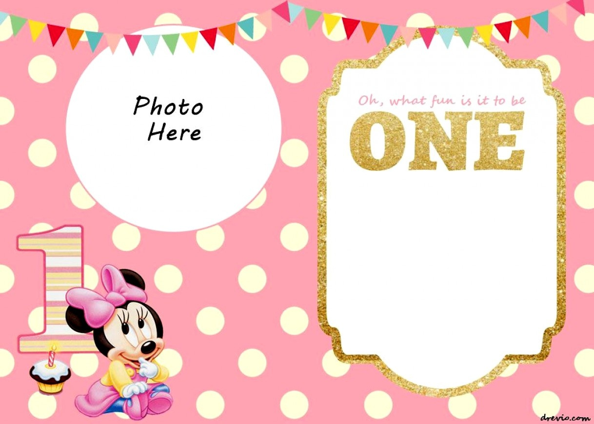 Wonderful Of Mickey Mouse 1St Birthday Invitation Template Free Free - Free Printable Mickey Mouse 1St Birthday Invitations