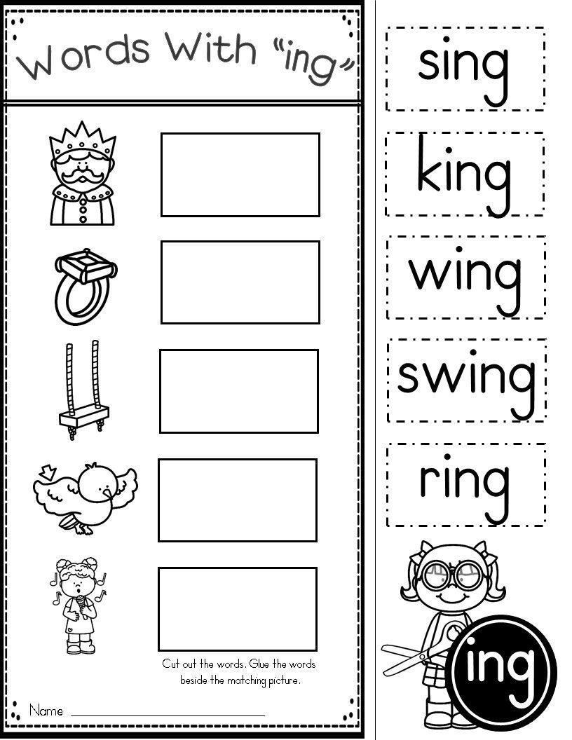 Word Family Ing Phonics Practice Printables | Homeschool | Ingles - Free Printable Word Family Worksheets For Kindergarten