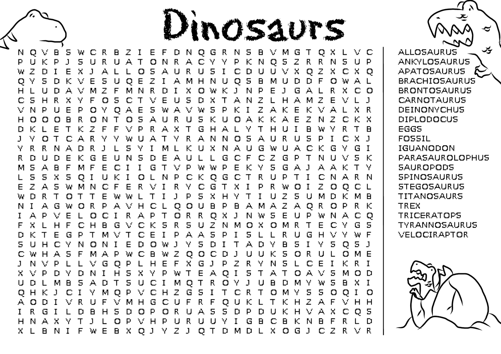 Word Search Games For Adults And Teens - Best Coloring Pages For Kids - Free Printable Dinosaur Word Search