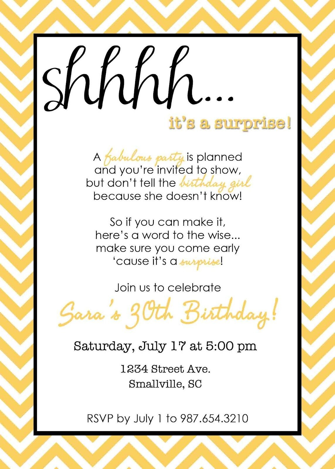 Wording For Surprise Birthday Party | Free Printable Birthday - Free Printable Surprise 60Th Birthday Invitations