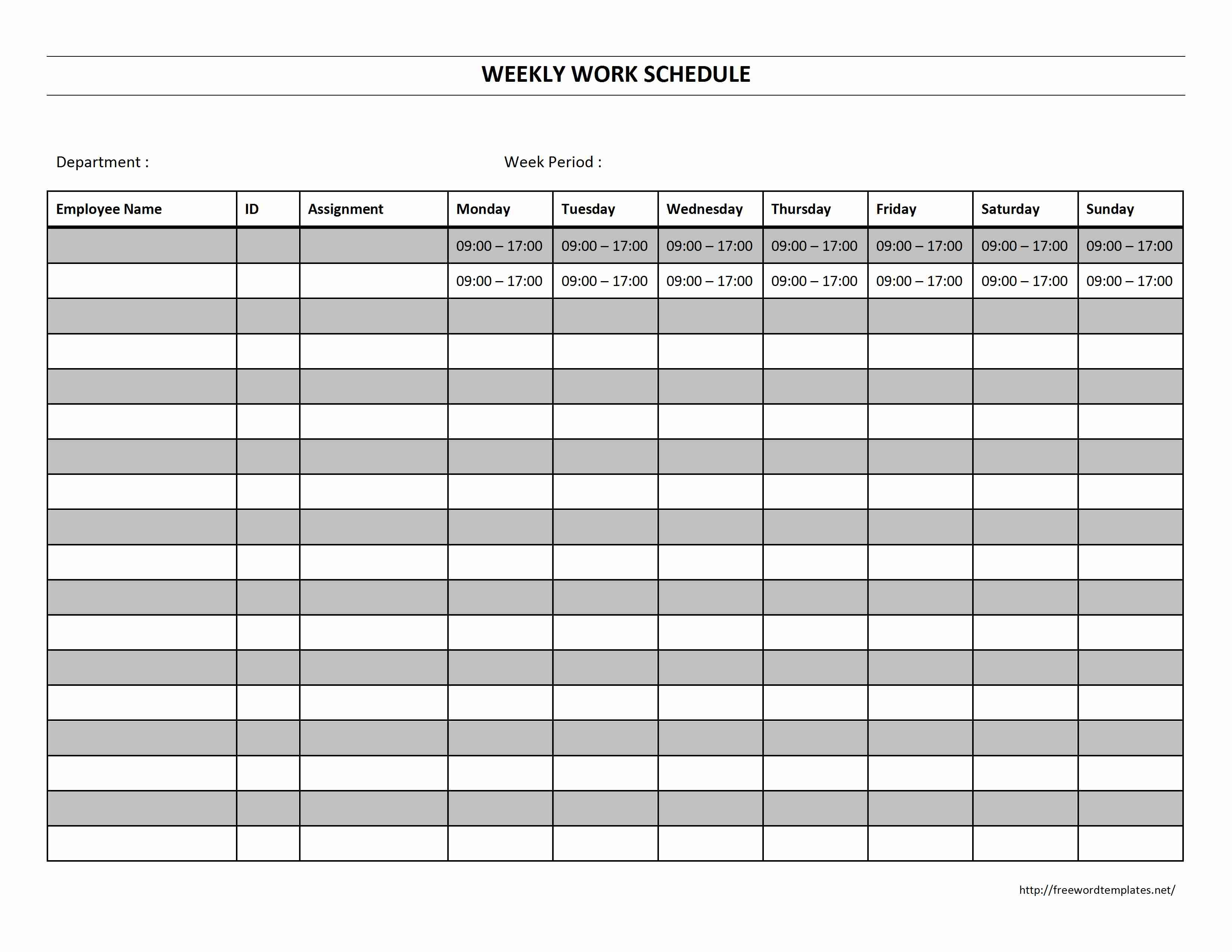 Work Schedule Blank Template Printable Free Daily Employee Weekly - Free Printable Monthly Work Schedule Template