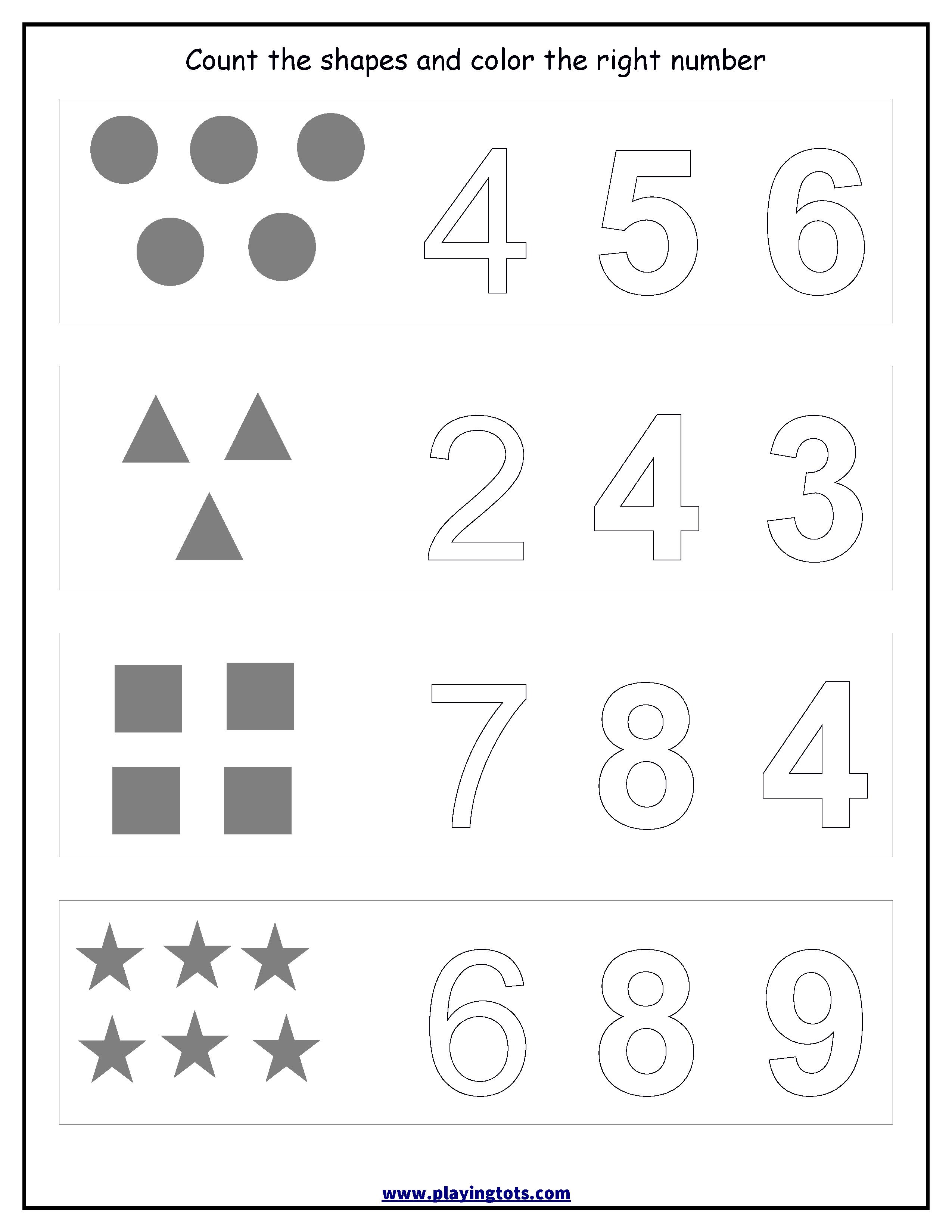 Worksheet - Counting Shapes,coloring Numbers Keywords:free - Free Printable Activities For Preschoolers