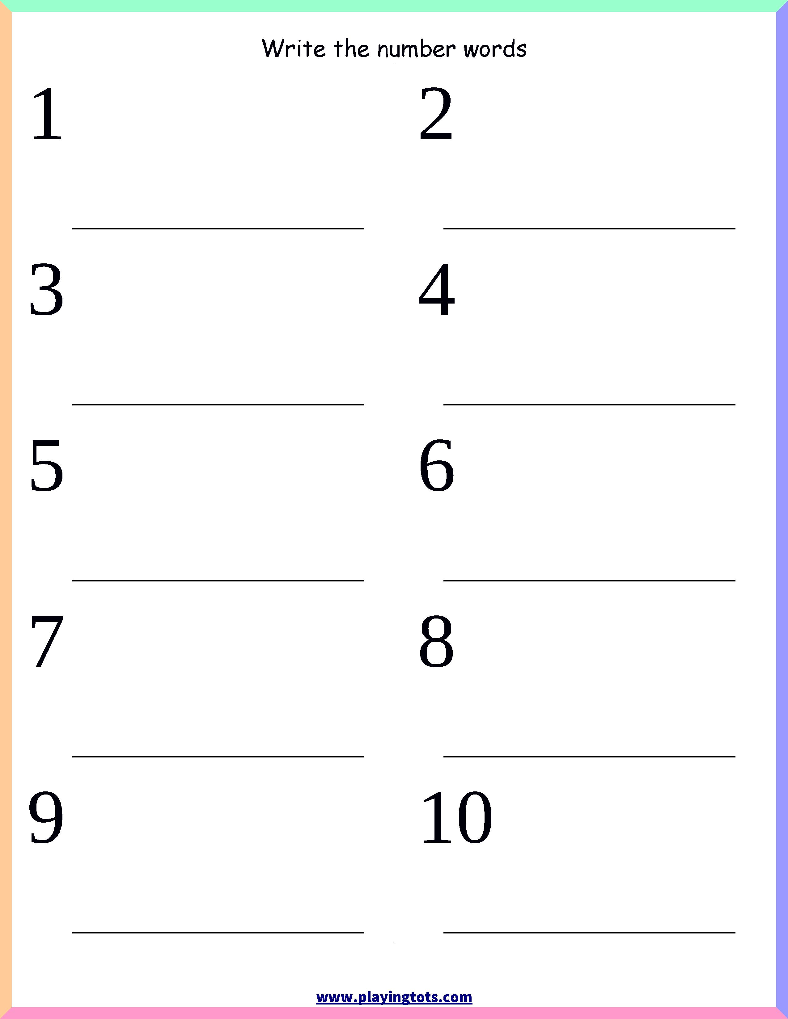 Worksheet - Number Words Keywords:free, Printable,pdf | Jan 2017 - Free Printable Homework Worksheets