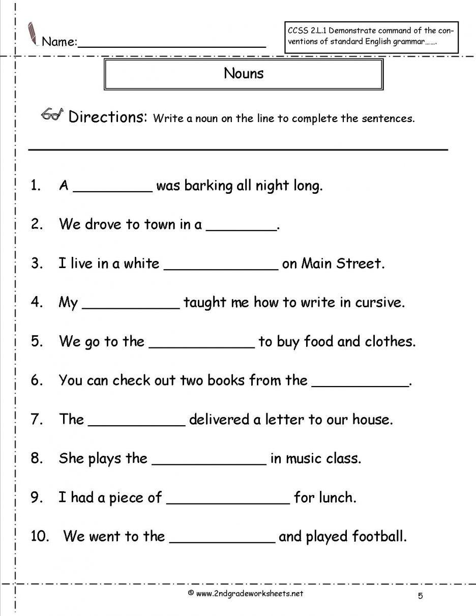 Free Printable Grammar Worksheets For 2Nd Grade   Free ...