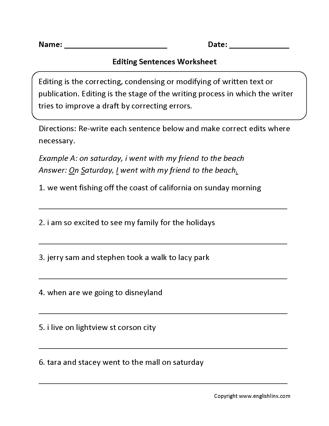 Worksheets. Paragraph Correction Worksheets. Cheatslist Free - Free Printable Sentence Correction Worksheets