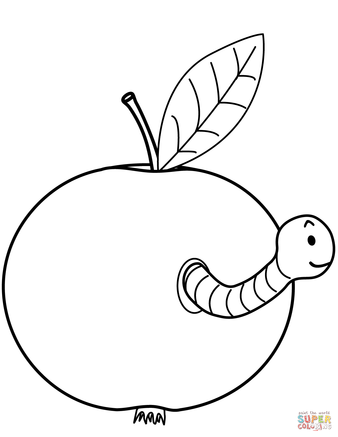 Worm Is Coming Out Of Apple Coloring Page | Free Printable Coloring - Free Printable Worm Worksheets