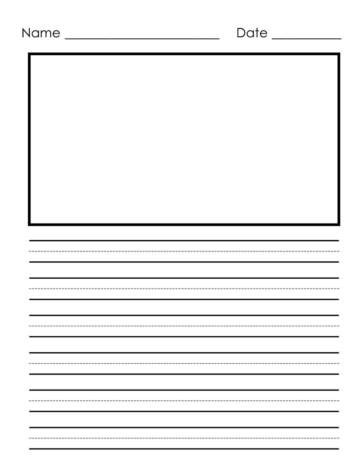 Writing Paper Printable For Children   Notebook Paper Templates - Free Printable Kindergarten Lined Paper Template
