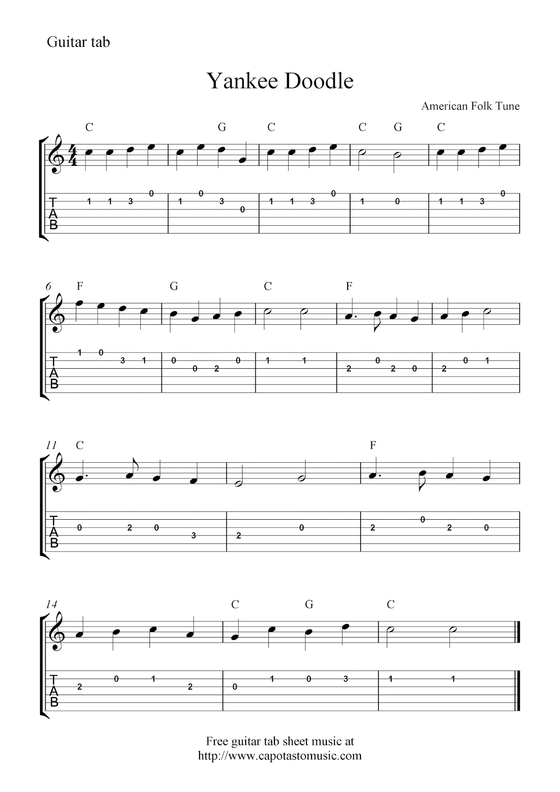 Yankee Doodle,easy Free Guitar Tab Sheet Music Score - Free Printable Guitar Tabs For Beginners