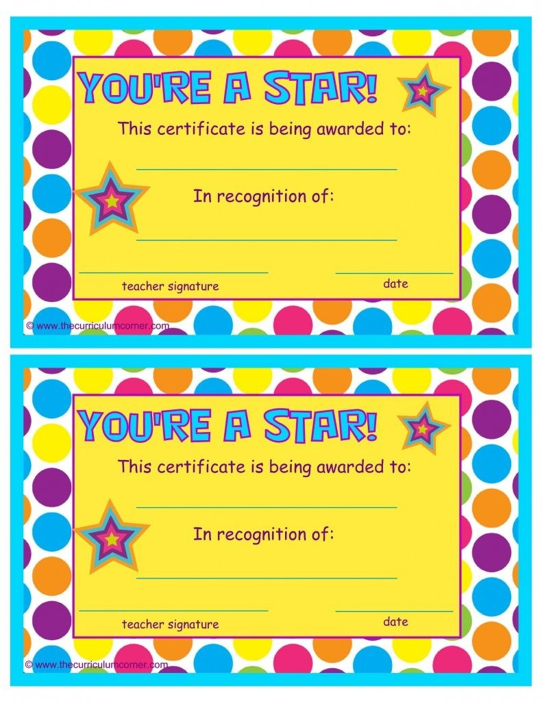 You're A Star End Of The Year Certificates | End Of The School Year - Free Printable Award Certificates For Elementary Students