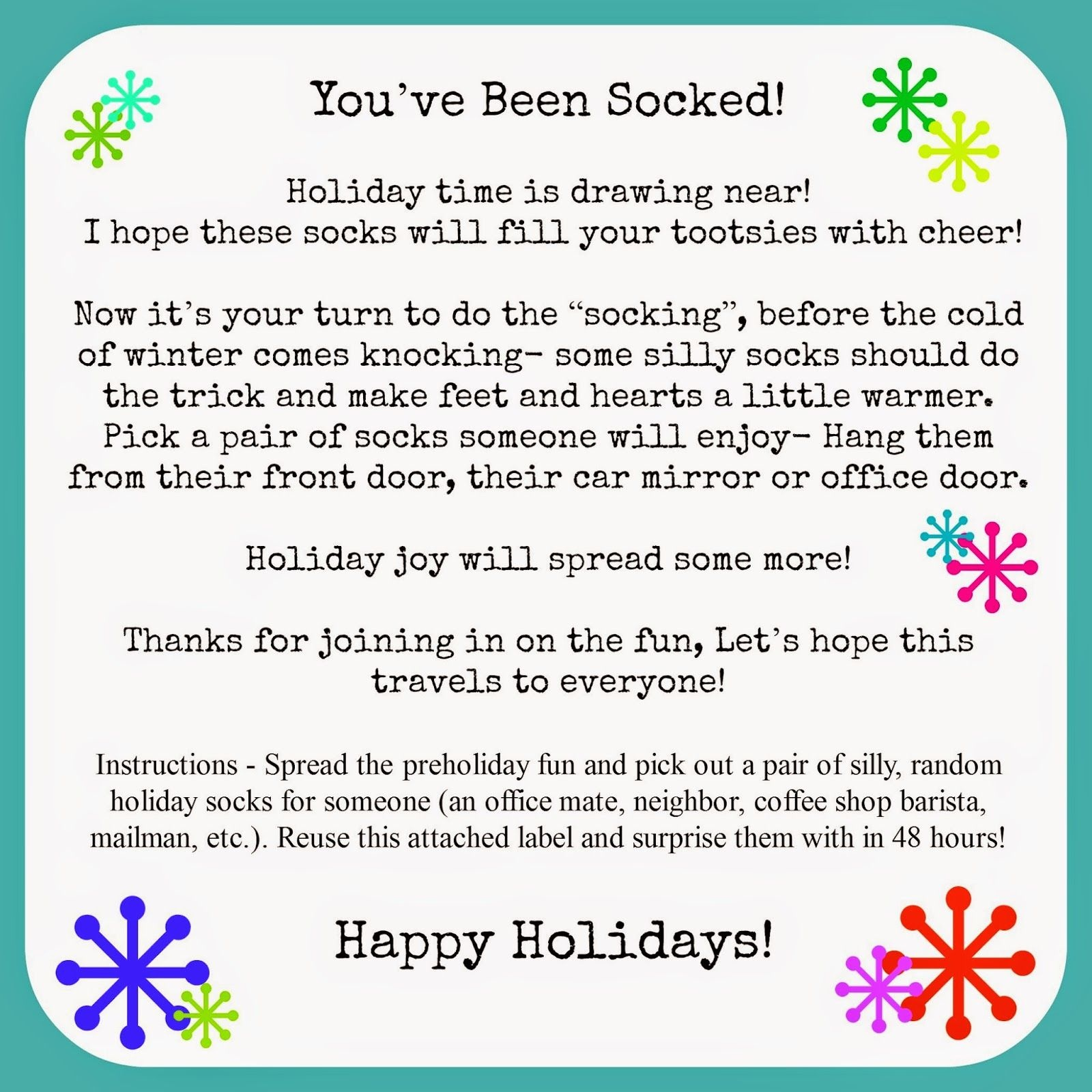 You've Been Socked! Spread Some Pre-Holiday Cheer With Silly Socks - You Ve Been Socked Free Printable